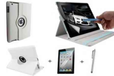 WooHooDeal - 360 rotation Leather Case for iPad 2 & 3 plus Screen Protector plus Stylus - Save 63%