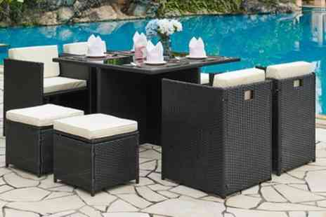 Groupon Goods Global GmbH - Nine Piece Cube Rattan Effect Dining Set in Choice of Colour with Optional Cover - Save 80%