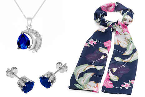 Gemnations - Navy flower print scarf and blue cubic zirconia jewellery set - Save 72%