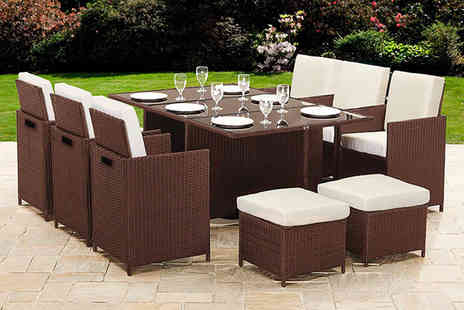 Dining Tables - 10 seater durable polyrattan garden furniture set choose between black and brown - Save 75%