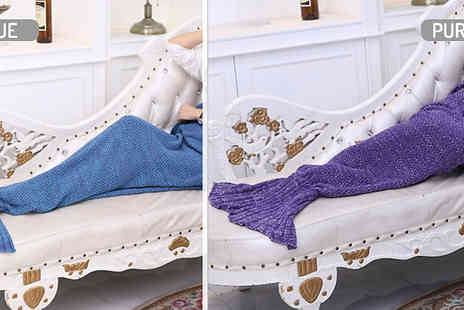 Wish Whoosh Offers - Hand Knitted Soft Mermaid Tail Blanket choose from 10 Colours - Save 83%