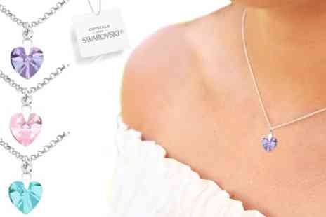 Groupon Goods Global GmbH - One, Two or Three Ah! Jewellery Silver Heart Necklaces with Crystals from Swarovski - Save 90%