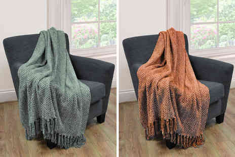 Cascade Home - Large woven diamond chenille throw - Save 0%