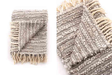 Cascade Home - Large hand woven boucle textured throw - Save 48%