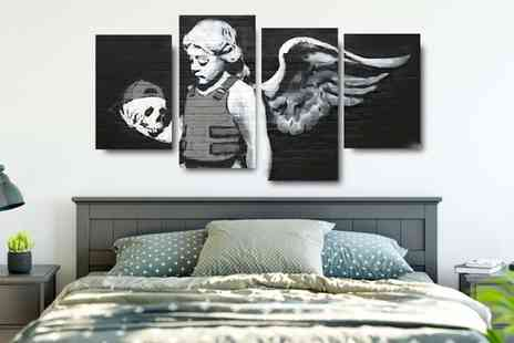 Deco Matters - Four panel Banksy canvas get two 20cm x 30cm and two 20cm x 41cm - Save 88%