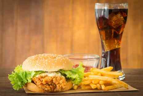 The Chicken Place - Choice of two burgers with two fries, your choice of BBQ beans or coleslaw and a 1.5ltr soft drink - Save 50%