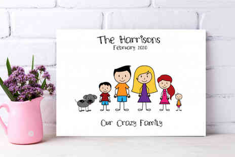 Colour House Print - Personalised stick family canvas - Save 68%