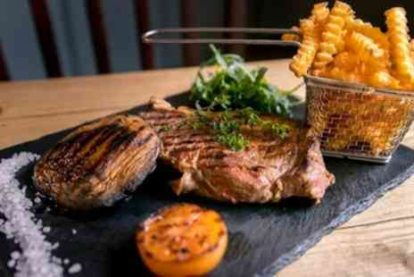 The Rising Sun - Flat Iron Steak Meal with Side, Sauce and Glass of Wine for Up to Four - Save 59%