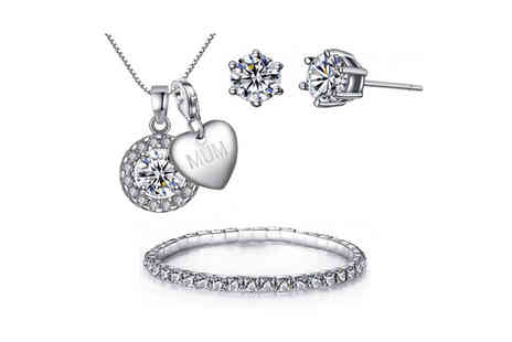 Your Ideal Gift - Solitaire charm necklace earring and bracelet tri set - Save 0%