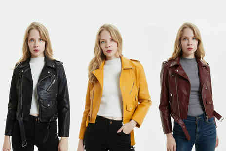 hey4beauty - Ladies PU leather jacket in black, yellow, pink or wine red choose from UK dress sizes 8 To 10 - Save 62%