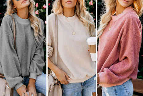 hey4beauty - Fleece plush pull over sweater - Save 0%