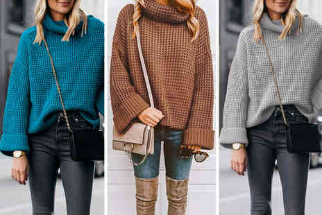 hey4beauty - Turtleneck knitted pullover jumper choose your colour and size - Save 65%