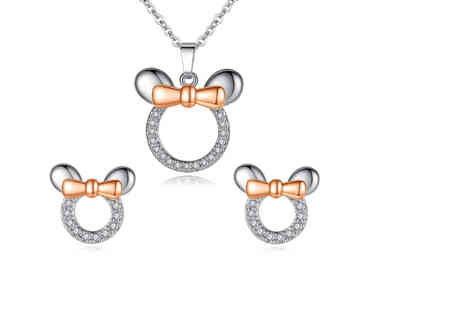 Styled By - Pair of bow crystal mouse bow earrings - Save 65%