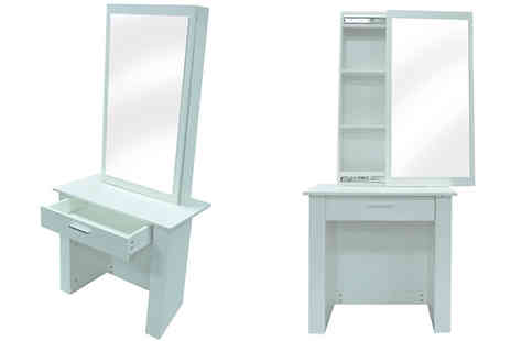 Cosmo Buy - Wooden Slide-Mirror Dressing Table With Storage Available in 2 Colours - Save 67%