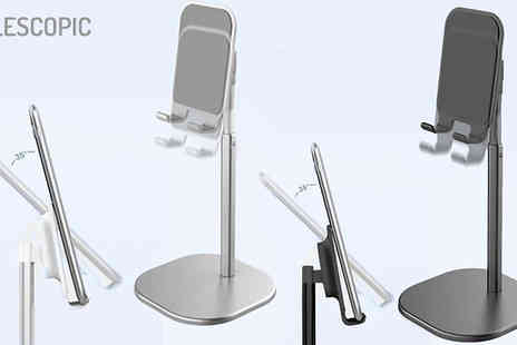 EClife Style - Phone & Tablet Adjustable Metal Desk Stand Choose from Silver or Black - Save 50%
