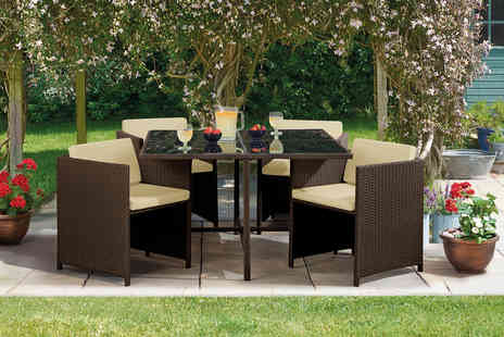 CJ Offers - Cubic polyrattan dining set choose your colour - Save 42%