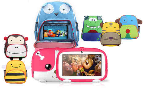 Litnfleek - 7 inch iPuppy interactive kids tablet and backpack choose from four colours and six backpack designs - Save 69%