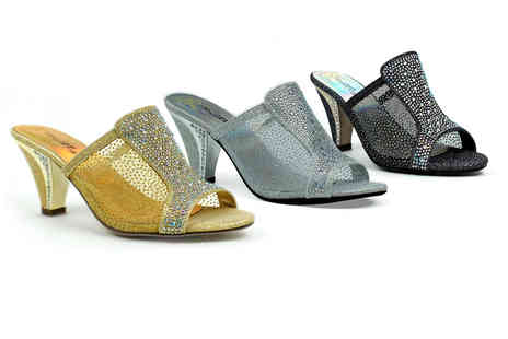 Shoe Fest - Pair of diamante slip on heels - Save 50%