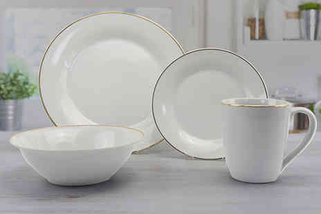 Direct Sourcing Project - 16 piece Mono plate set dinner plates side plates salad bowls and mugs - Save 0%