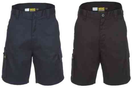 Groupon Goods Global GmbH - Black or Navy MIG Mens Cargo Work Shorts - Save 0%