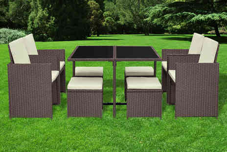 Direct Sourcing Project - Nine piece cube durable polyrattan garden furniture set - Save 67%