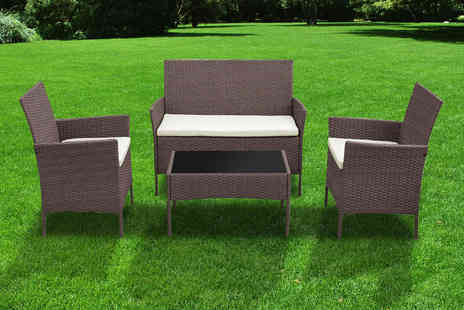 Direct Sourcing Project - Four piece rattan garden furniture set choose black or brown - Save 65%