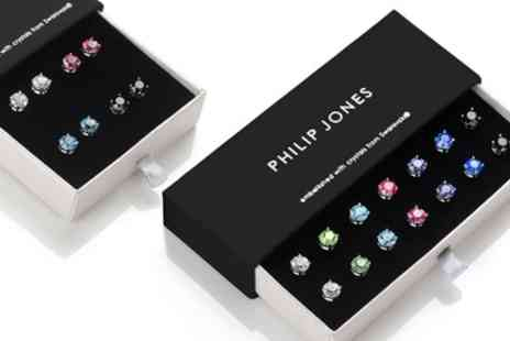 Groupon Goods Global GmbH - Four or Seven Pairs of Philip Jones Round Earrings with Crystals - Save 78%