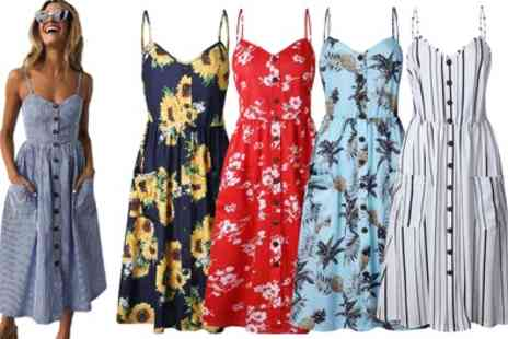 Groupon Goods Global GmbH - Pattern Buttoned Summer Dress - Save 57%