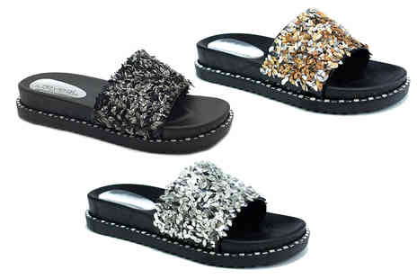 Shoe Fest - Pair of glitter sliders - Save 23%