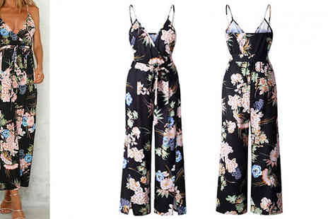 My Blu Fish - Floral Strappy Split Leg Jumpsuit Available in 3 Colours & Sizes - Save 63%