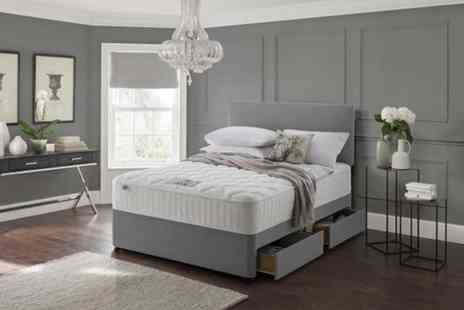 Dining Tables - Grey fabric divan bed set with a headboard and memory mattress - Save 75%