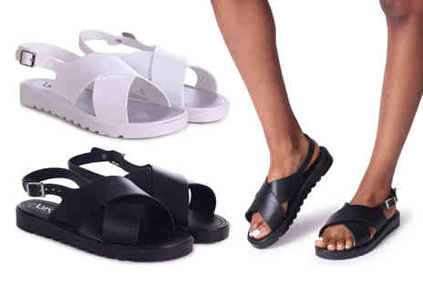 Linzi - Pair of cross over sling back sandals choose from two colours - Save 0%