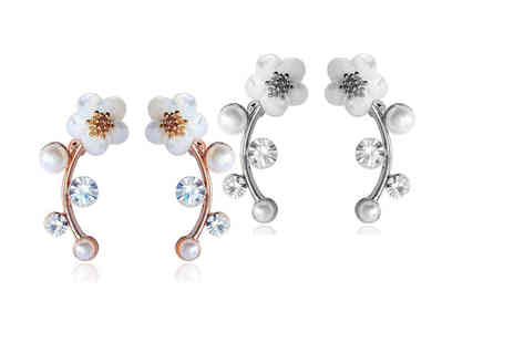 Styled By - Pair of daisy ear climber earrings - Save 0%
