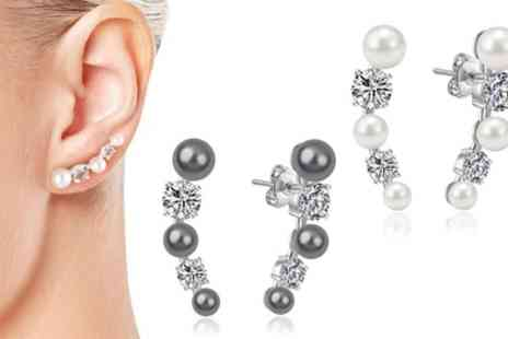 Groupon Goods Global GmbH - Pairs of Philip Jones Pearl Climber Earrings with Crystals - Save 67%