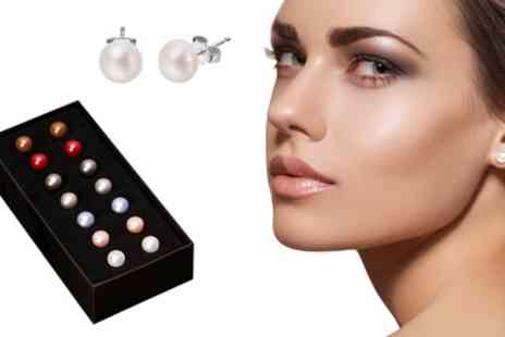 Groupon Goods Global GmbH - Seven Pairs of Freshwater Pearl Earrings - Save 0%