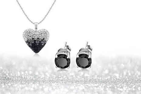Evoked Design - Black and silver ombre necklace and earrings set - Save 88%
