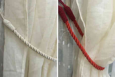 Arthur Gold - Pair of twisted rope curtains tiebacks choose from eight colours - Save 0%