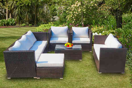 Direct Sourcing Project - Eight seater polyrattan garden furniture set choose from three colours - Save 43%