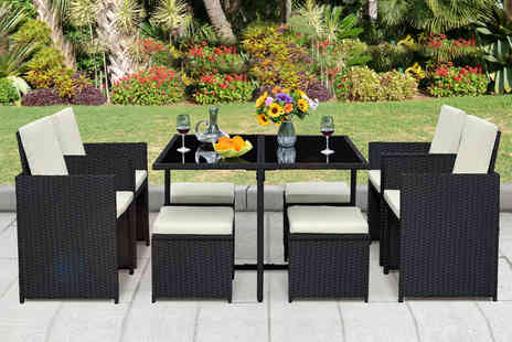 Direct Sourcing Project - Nine piece cube durable polyrattan garden furniture set - Save 59%