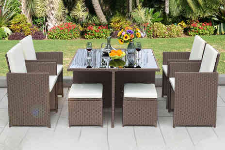 Direct Sourcing Project - Nine piece cube rattan furniture set choose black, grey or brown - Save 61%