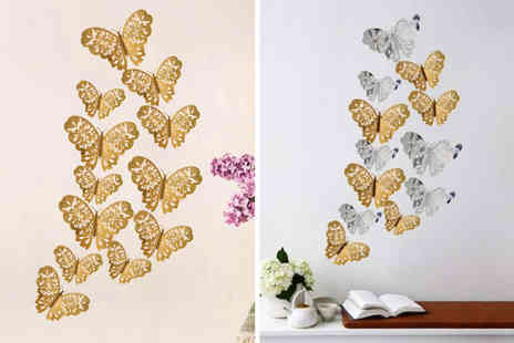 Arthur Gold - 12 piece set of 3D butterfly decorations in gold or silver - Save 75%