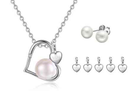Groupon Goods Global GmbH - Pearl Pendant and Earrings Set with Charm - Save 0%