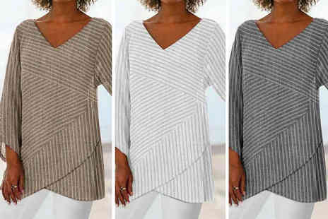 Domo Secret - Womens striped V neck loose linen blouse - Save 77%