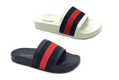 Shoe Fest - Pair of womens striped sliders choose from two colours - Save 0%