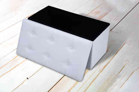 FDS - Two seater faux leather ottoman stool - Save 70%