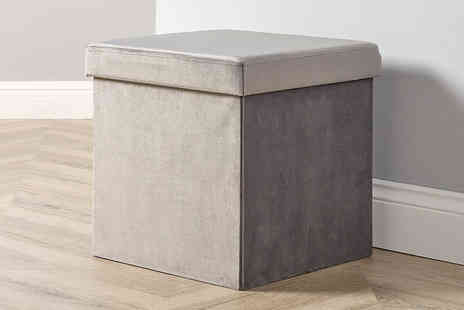 Furniture Deals - Velvet square ottoman choose from two gorgeous colours - Save 77%