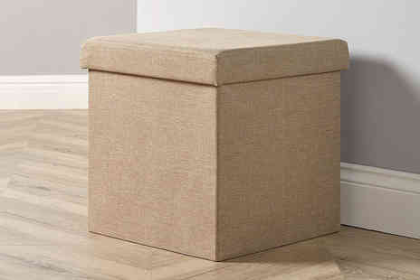 Furniture Deals - Fabric folding square ottoman choose from two neutral colours - Save 77%