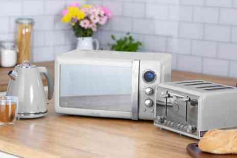 Groupon Goods Global GmbH - Swan Retro Style Three Piece Kitchen Set with 800W Digital Microwave - Save 37%