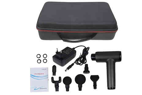 Wish Whoosh Offers - Electric Massage Gun with 6 Attachments Available in 3 Colours - Save 50%