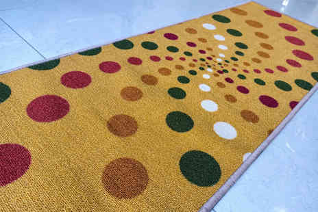 Bloomy International - Beige spiral colourful dots area rug polyester carpet anti slip 150 x 80 cm - Save 48%